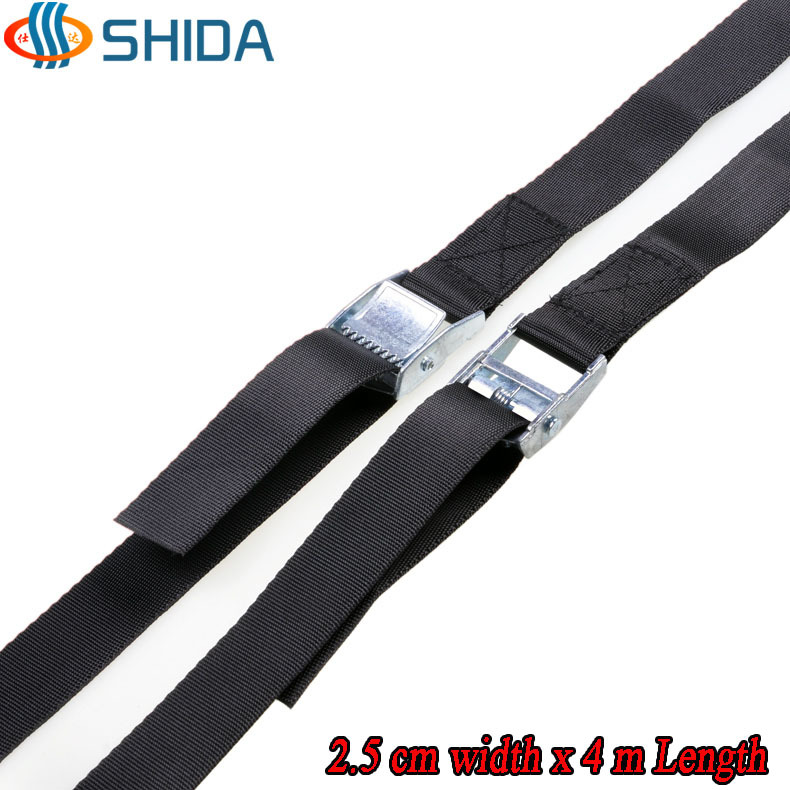 2015 New 2pcs 1 inch (2.5cm) *4meters Metal cargo lashing strap ratchet tie down cam buckle winch strap Free Shipping(China (Mainland))