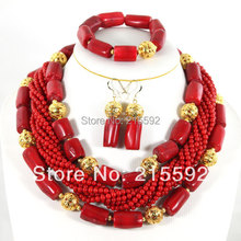 Nigerian Wedding Beads Jewery Set African Red Coral Beads Jewelry Set 2016 New Bridal Jewelry Best Selling Free Shipping CJ012(China (Mainland))