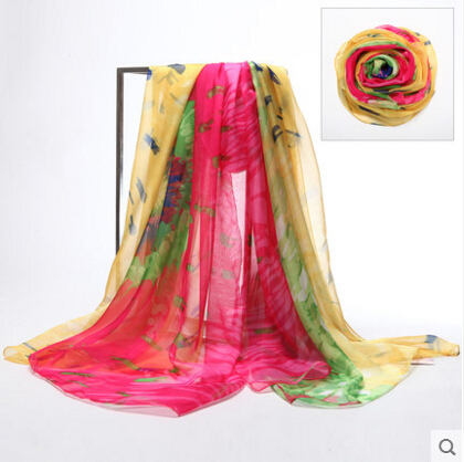 high quality silk shawl Women chiffon scarf shawl women fashion scarf sillk women thin long scarf Digital printing shawl-b166(China (Mainland))