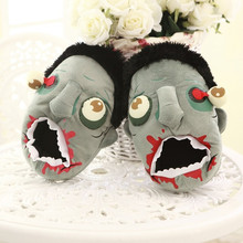 New Creative Funny Cosplay Bloodcurdling Zombie Pantufa Plush Home Shoes Cartoon Mens Slippers Winter Women's Warm Shoes(China (Mainland))