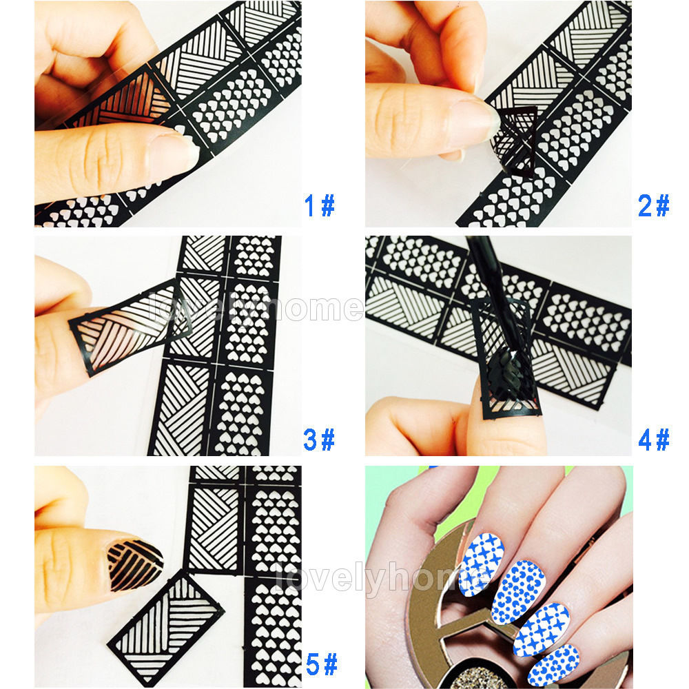 HOT SALE Easy Stamping Tool Nail Art Template Stickers Stamp Stencil Guide Reusable Tips 24 Style For Choice(China (Mainland))