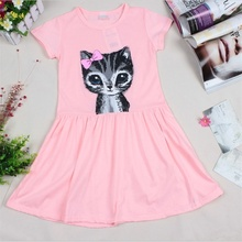 2016 New Arrival Summer Girl Dress Cat Print Grey Baby Girl Dress Children Clothing Children Dress 2-7years
