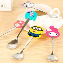New Arrive Kawaii Spoon Cutlery Cartoon Silicon Minions Kids Stainless Steel Tableware Spoon Kitchen Accessories New Year Gift