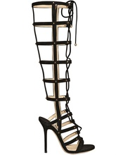 Black Knee High Long Hollow Out Gladiator Shoes Women Sandal High Heels Made-to-order Plus Size 14 Stilettos Discount Dress Shoe(China (Mainland))