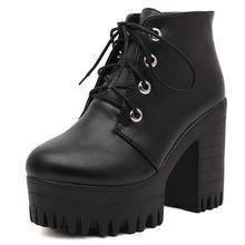 Gdgydh marka tasarımcıları 2020 yeni bahar sonbahar kadın ayakkabı siyah yüksek topuklu çizmeler bağlama platformu yarım çizmeler tıknaz topuk deri(China)