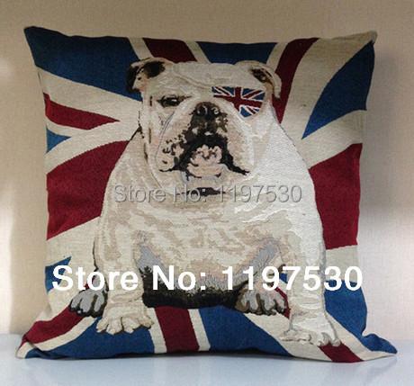 Aliexpress.com : Buy Bulldog union jack linen decorate for a sofa shabby chic throw pillow case ...