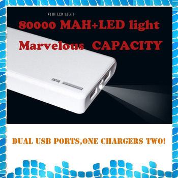 4S 10 times! 80000mah Portable USB Power Bank Backup Battery External Battery Charger for Apple iPhone iPad HTC Samsung Nokia