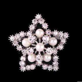 2015 Lovely Five Star Brooch Drill Pearl High Graded Wedding Brooch Q13(China (Mainland))