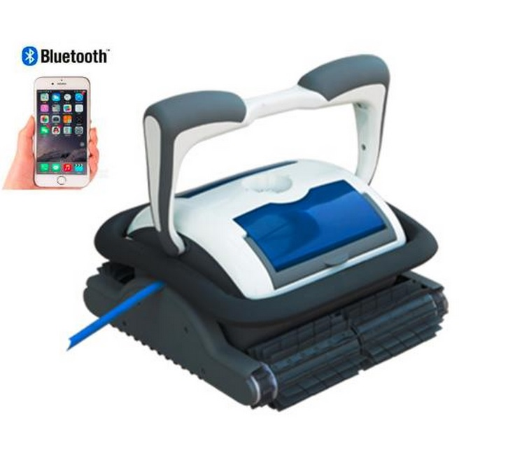 Free shipping New Coming Smartphone Bluetooth Control Automatic Robot Swimming Pool Cleaner With 18 Cable, 1pc Caddy Cart(China (Mainland))