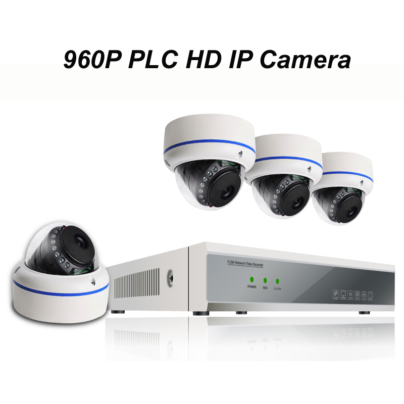 4pcs of 960P PLC HD IP Dome Camera with 1080P NVR Kit with Power Line Communication Module Built-in Reach 300m Power Supply<br><br>Aliexpress