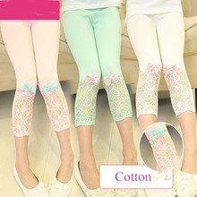 2016 Summer Style Top Quality Cotton Lace Girls Pants Candy Color Girls Leggings Calf-length Kids Leggings For Retailing GP0015
