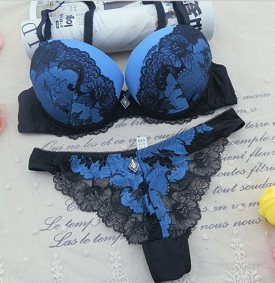 New 2015 Women's Underwear Set, Sexy Lace Bra Sets for women Embroidery 3/4 Cup A B C Cup Bra Sets Push Up Bra , Free Shipping(China (Mainland))