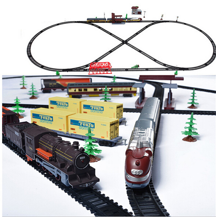 Classic assembly Retro steam train/Modern Train Set electric railway car toys for children With sound &Light(China (Mainland))