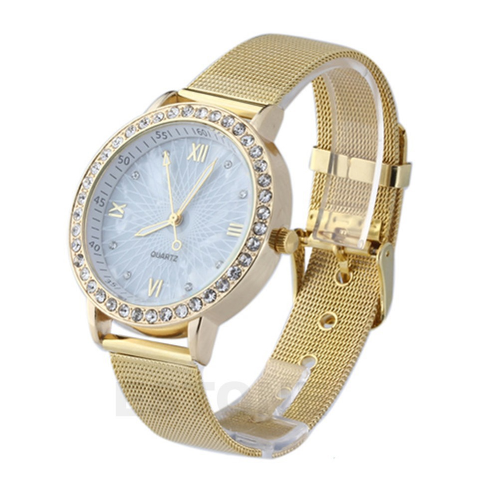 Elegant Womens Crystal Roman Numerals Golden Plated Metal Mesh Band Wrist Watch(China (Mainland))
