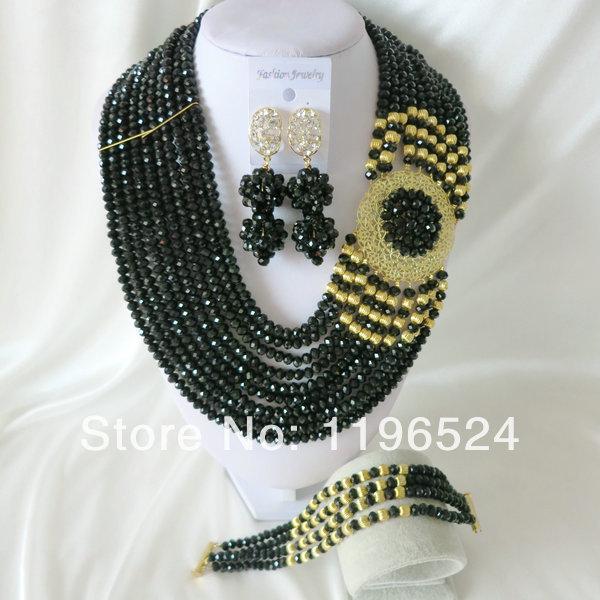 Luxury Crystal Necklaces Bracelet Earrings African Nigerian Wedding Beads Jewelry Set  A-984<br><br>Aliexpress