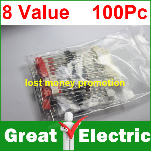 1N4148 1N4007 1N5819 1N5399 1N5408 1N5822 FR107 FR207,8values=100pcs,Electronic Components Package,Diode Assorted Kit CGKCH062(China (Mainland))