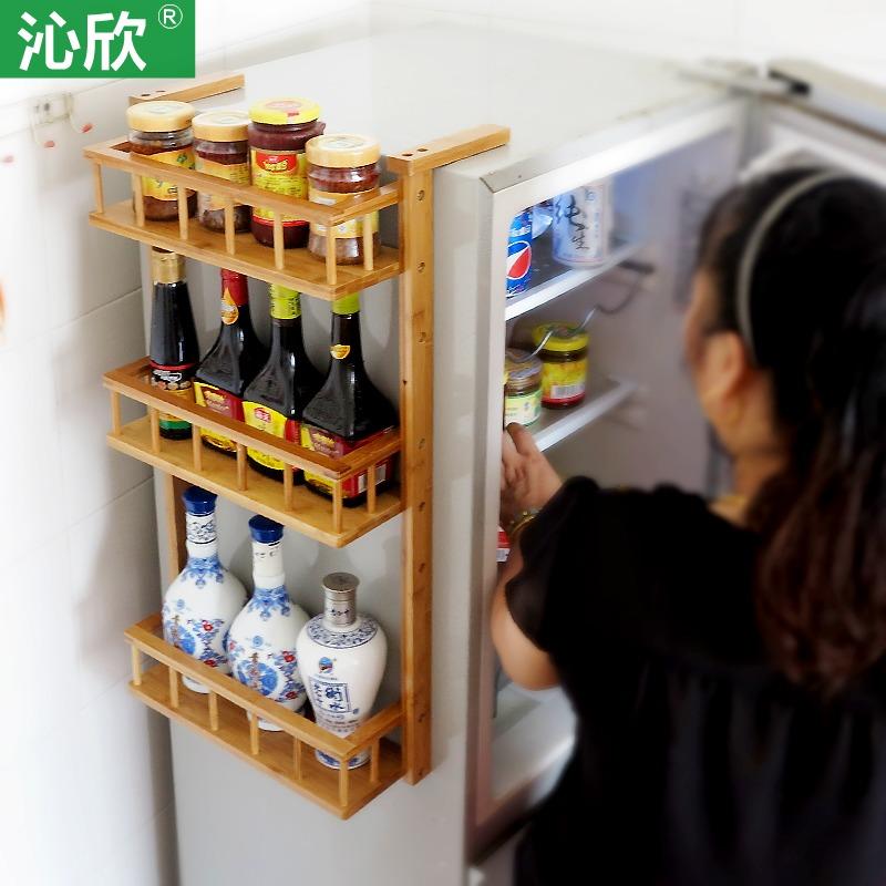 Goedkope Keuken Opbergkast : Kruiden rack keuken koelkast rekken muur rekken multilayer bamboe hout