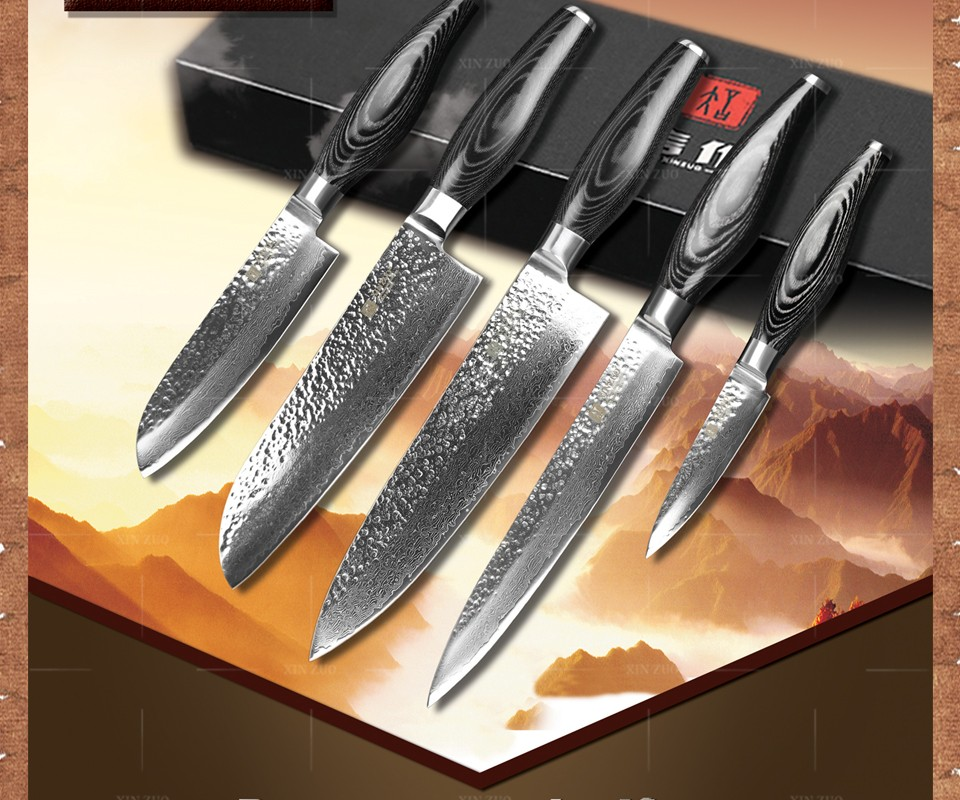 Buy XINZUO 5 pcs kitchen knives set Damascus kitchen knife Japanese VG10 cleaver chef utility knife hammer striae free shipping cheap