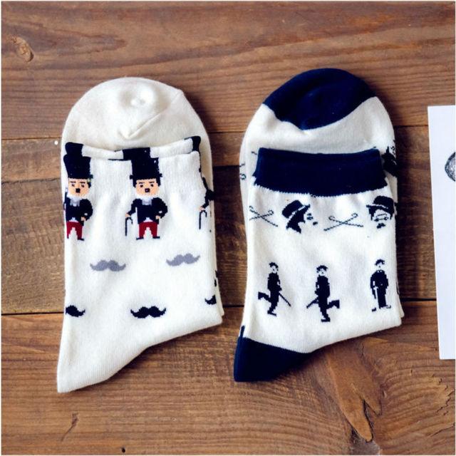Японский каваи женщины чаплин рисунок носков мода марка Caramella забавный мультфильм носок новый 100 хлопок милый