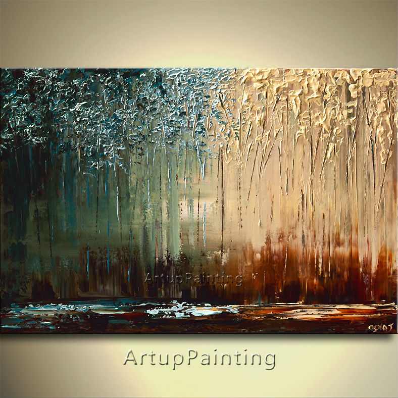 Modern abstract Hand painted canvas oil paintings knife painting landscape decorative pictures wall pictures for living room art(China (Mainland))