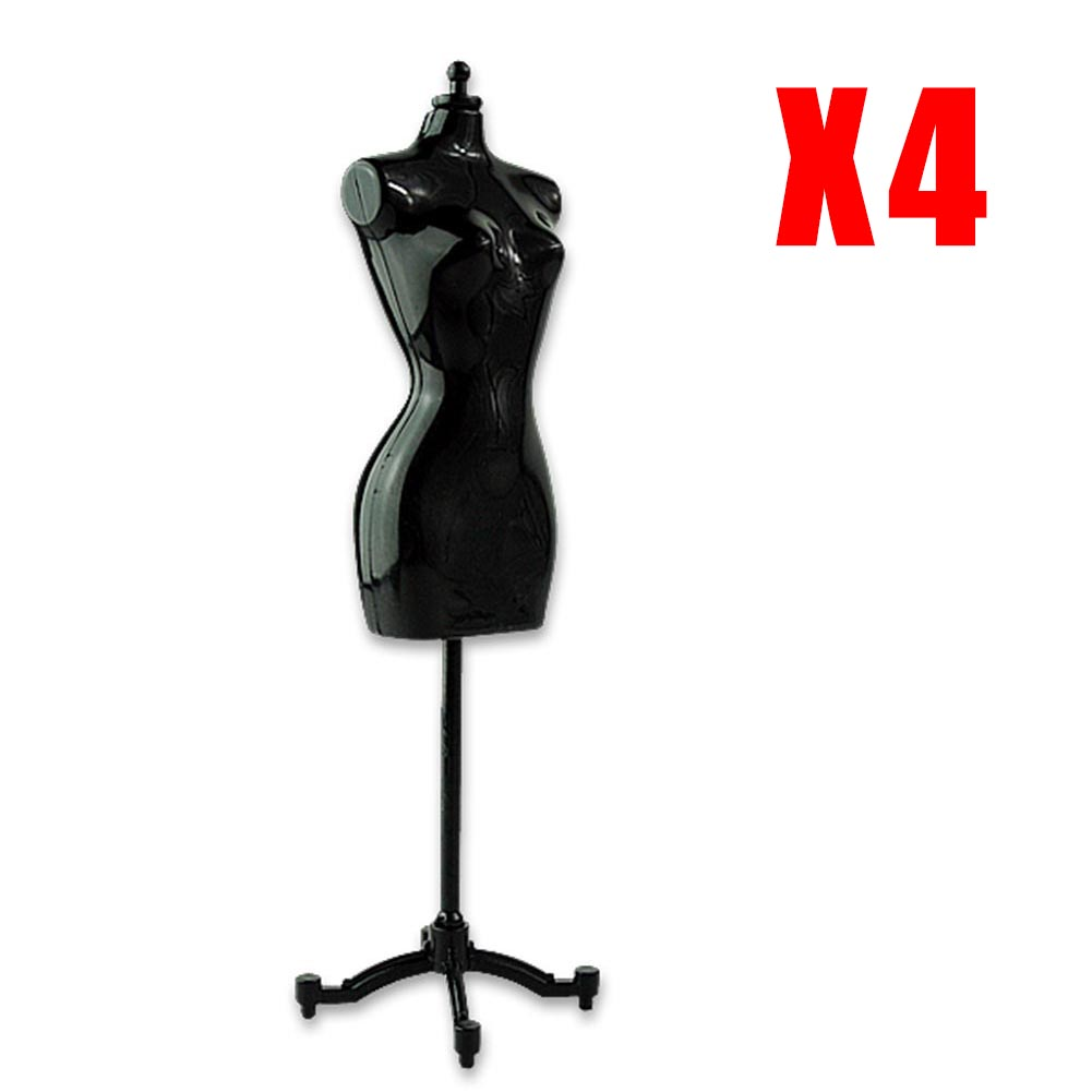 Clothing Display Model Stand 4pcs Black Dress Clothes Clothing Display Model Stand For Doll Accessories ESA385(China (Mainland))