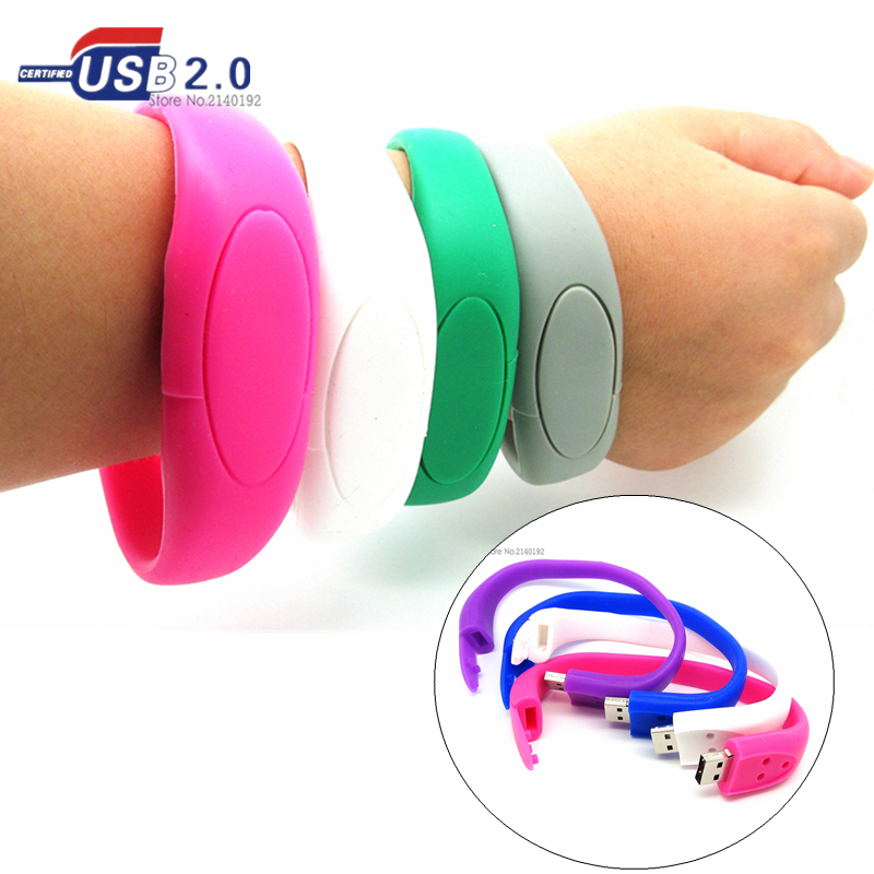 100% real capacity 8 colors bracelet wrist band USB Flash drive silicone USB Stick Pen Drive 4GB 8GB 16GB 32GB storage device(China (Mainland))
