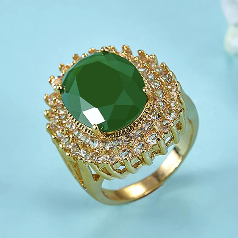 Emerald Rings Bridal Jewelry Unusual Women wedding Rings Noble CZ Diamond Rhinestone Anel Aneis Elegant Gold Ring Man Bijoux(China (Mainland))