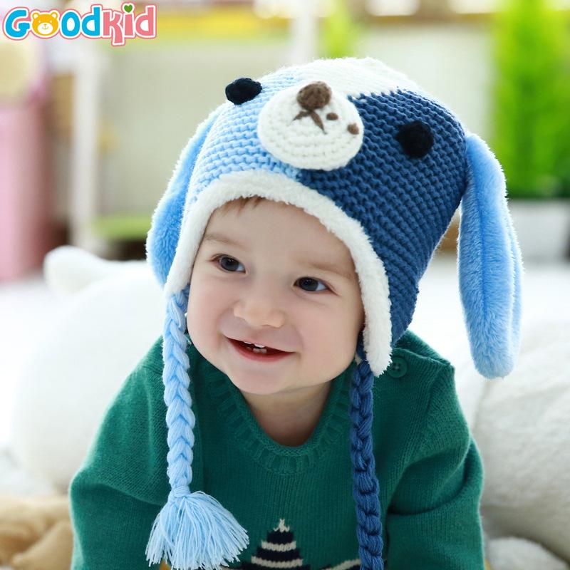 BB Hot Winter Beanie Cute Dog Ear Design Gorros Baby Kids Boy Girl Warm Hats Hooded Scarf Earflap Crochet Knitted Wool(China (Mainland))
