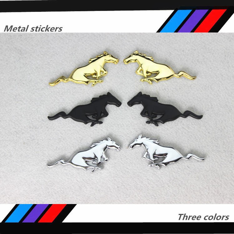 20 pcs Car-Styling Running Horse Sticker Chrome Metal Emblem Badge For Focus 2 3 Mustang Accessories stickers on cars(China (Mainland))