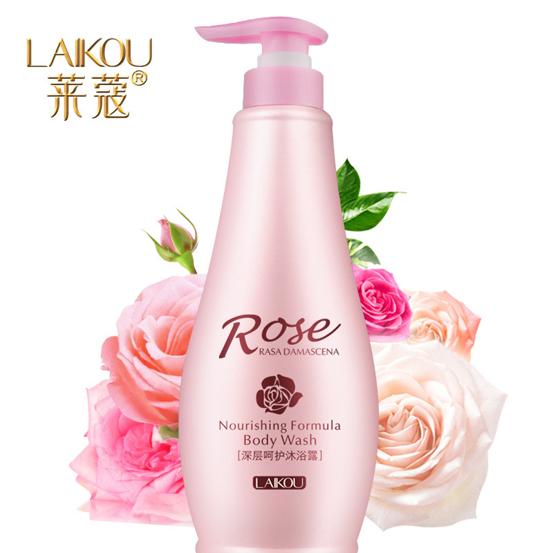 New fashion LAIKOU Rose Essential Oil Shower Gel Body Moisturizing perfume fragrance shower gel bubble bath and genuine ZYG835(China (Mainland))