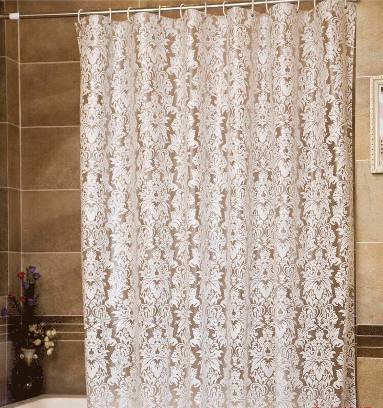 Free shipping modern peva white clover fabric curtain