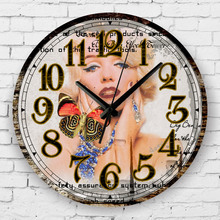 marilyn monroe fashion living room decoration watch wall absolutely silent bedroom decor wall clock modern wall decals gift(China (Mainland))