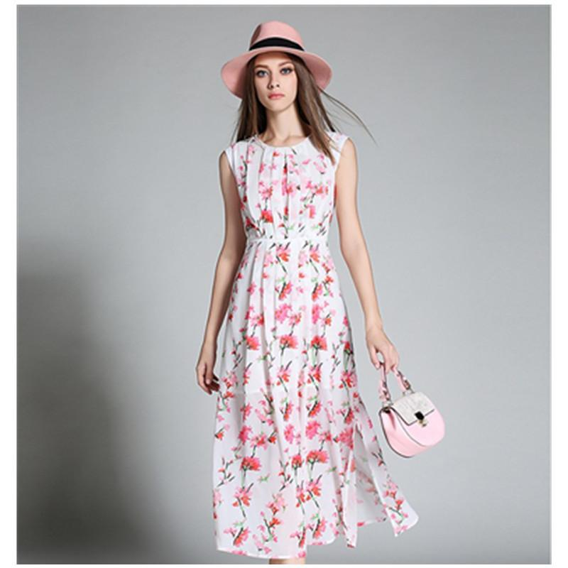 women elegant dress chiffon sleeveless flowers print midi white sundress summer new style hot sale plus size clothing vestidos(China (Mainland))