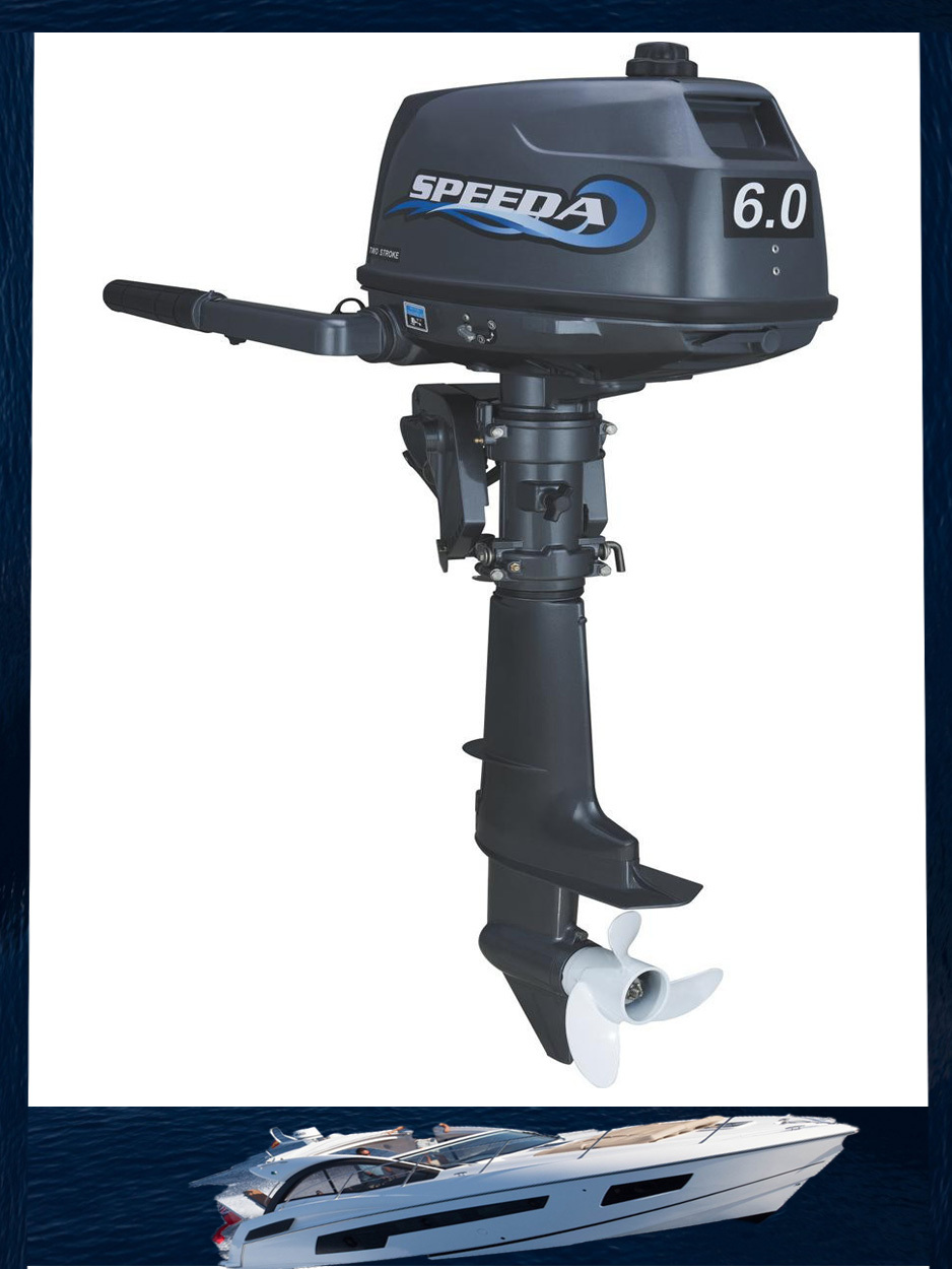 Outboard motor two stroke water cooling 6hp boat engine for Fishing boat motor