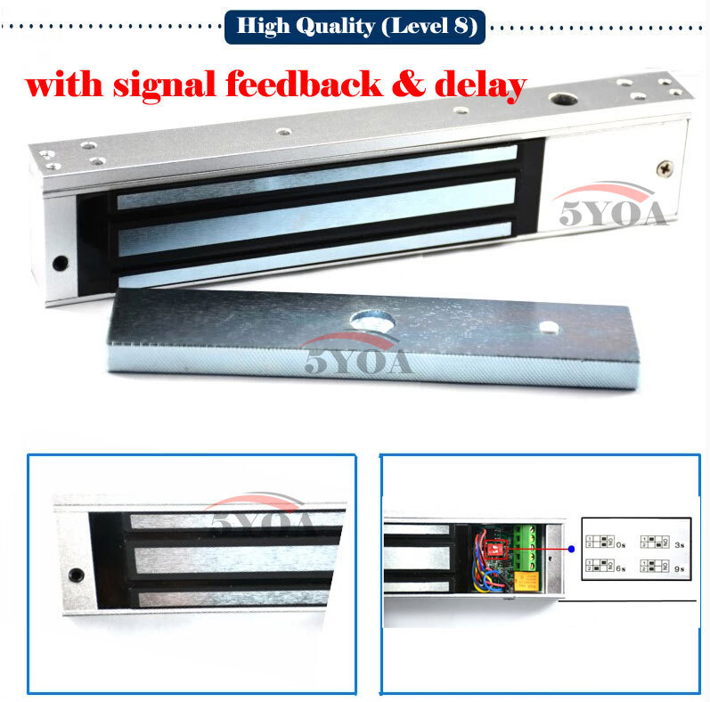 Level 8 Quality Assurance Electric Magnetic Door Lock Signal Feedback Delay 280kg 600lbs Holding Electromagnetic Electronics(China (Mainland))