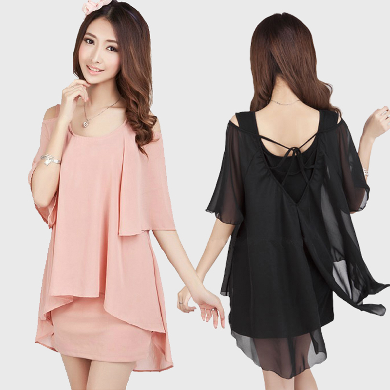 2014 fashion maternity clothing short sleeve loose plus size dress spring summer chiffon one piece - Working For Customer store
