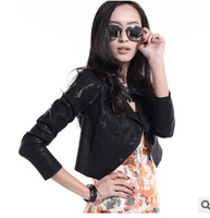 2015 Hot new women's spring autumn long-sleeved pu leather female coat punk black  jackets