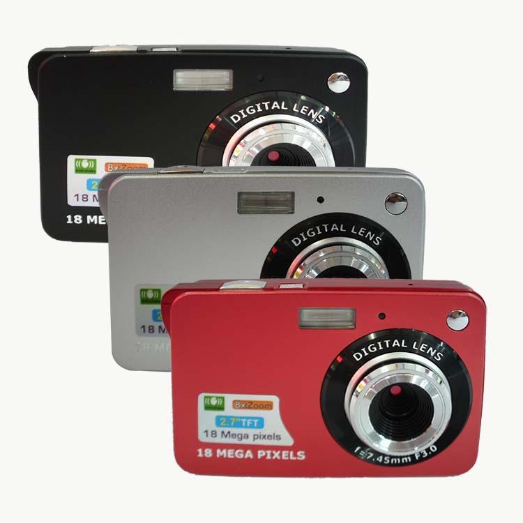 "New 18Mp 2.7"" LCD CMOS Sensor Digital photo Camera Camcorder cameras 8x Digital Zoom Rechareable Lithium Battery 3 colors DC530(China (Mainland))"