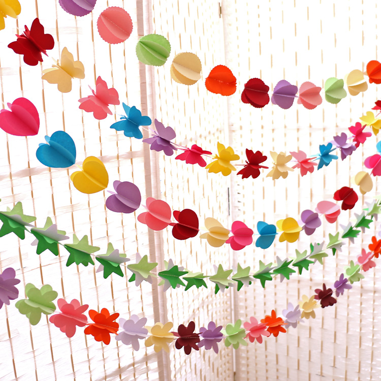 3d butterfly heart paper garland for baby shower for 3d decoration for birthday