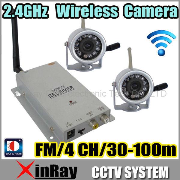 Mini Hidden Pinhole Wireless Camera KIT, 2 Camera+ 4ch Receiver,Infrared Night Vision Home Security CCTV Camera ZJ812Z2