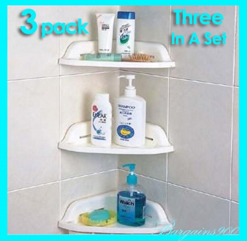 3 x NEW Practical Bathroom Storage Shelves Bath Rack Home Organizer Shower Wall Holder HQS-V910 Retail - M&A Fashion store