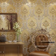 Luxury Classic Wall Paper Home Decor Background Wall Damask Wallpaper Golden Floral Wallcovering 3D velvet Wallpaper Living Room(China (Mainland))