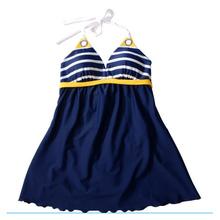 Navy Blue Women Striped One Piece Swimsuits Halter Swimwear Set Padding And Thong Bathing Suits Beach Wear Maillot De Bain DA475
