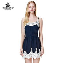 WISHCLUB 2015 new fashion women blue and white stitchings dress summer beach sexy spaghetti strap lace vestidos free shipping