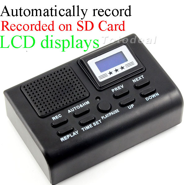 Mini Telephone Digital Voice Recorder Telephone Logger / Telephone Voice Monitor Blue LCD display With Clock function(China (Mainland))