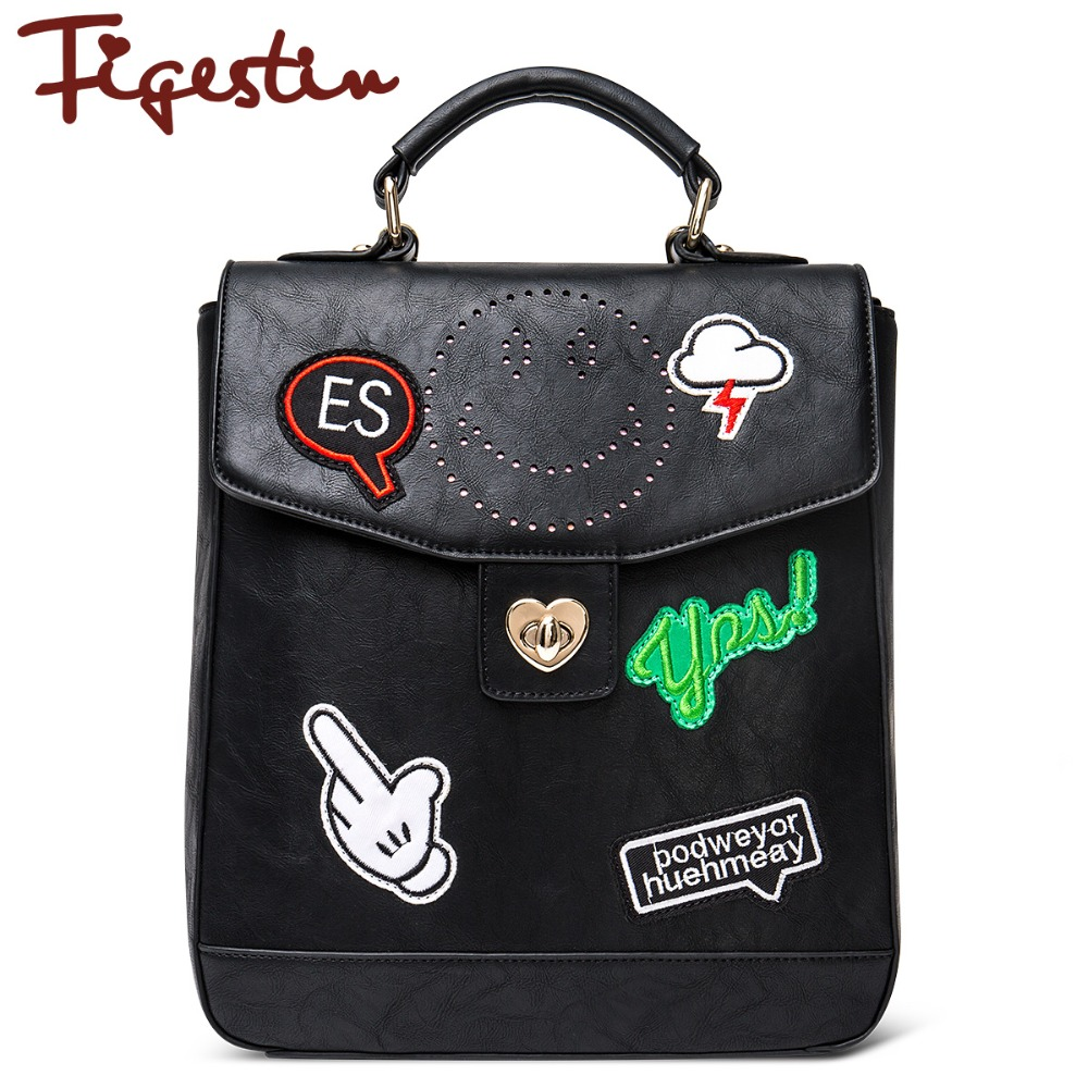 FIGESTIN 2016 New Women Leather Backpacks For Girls Famous Designer Brands High Quality Street Style Cool Punk Black Backpack(China (Mainland))