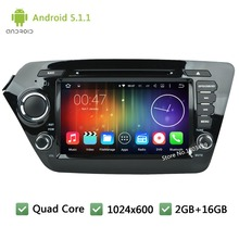 Quad Core 16GB Android 5.1.1 2Din 8INCH 1024*600 WIFI RDS Car DVD Stereo Player Radio Audio Screen PC For KIA K2 RIO 2010-2014