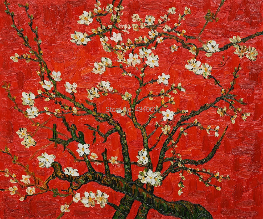 Modern,Branches Of An Almond Tree In Blossom Interpretation in Red,oil paintings by Vincent Van Gogh Reproduction,High quality(China (Mainland))