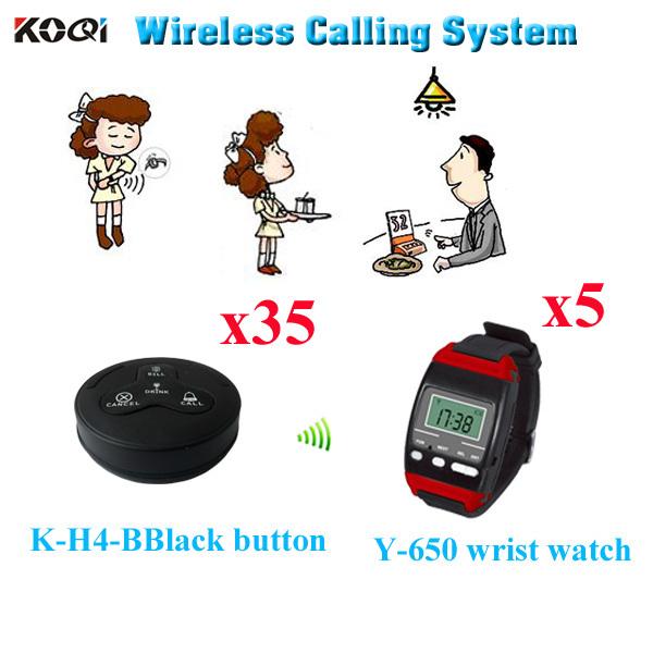 Wireless Customer Calling System Restaurant Table Bell Bill ( 5pcs wrist watch+ 35pcs call button)(China (Mainland))