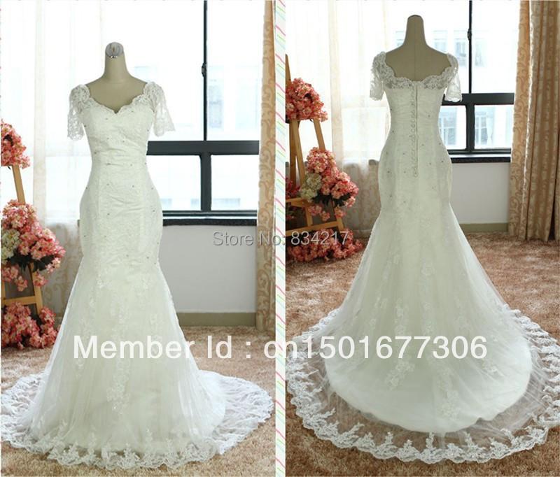 Real sample mermaid wedding dress bridal gown v neck satin for Wedding dress fabric samples